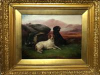 "Victorian Oil Painting Hunting ""Game Dogs"" Signed Robert Cleminson (5 of 29)"