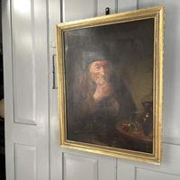 Antique Victorian Oil Painting Portrait of Man with Hat in Inn Pub Ale House (7 of 10)