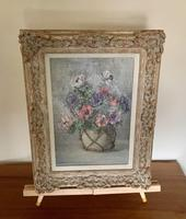 Signed Oil on Canvas Anemones in a Vase (4 of 7)