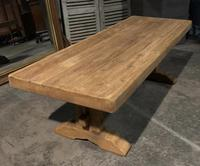 Large French Bleached Oak Trestle Farmhouse Dining Table (5 of 16)