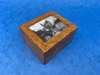 1920s Burr Cedar Box with Engraved Mother of Pearl Panel to the Top of a Cathedral (2 of 8)