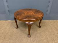 Round Burr Walnut Queen Anne Style Coffee Table (5 of 6)