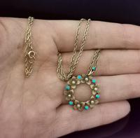 Antique Art Nouveau 15ct Gold Floral Pendant, Pearl & Turquoise, 9ct Gold Necklace (3 of 12)