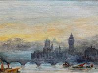 Superb Original 1921 View of Westminster, London Seascape Oil Painting (7 of 12)