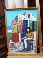 Oil on Board Washing Day by Artist S Spina 1960s (3 of 10)