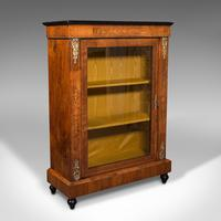Antique Pier Cabinet, English, Walnut, Inlay, Display Cupboard, Victorian, 1870