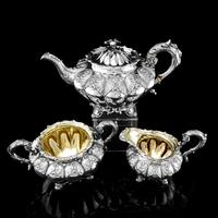 Magnificent Georgian Solid Silver Tea Set / Service 3 Piece Set - Barnard 1835 (5 of 29)
