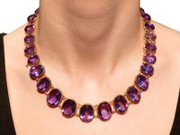 274.91ct Amethyst & 18ct Yellow Gold Rivière Necklace - Antique Victorian (11 of 12)