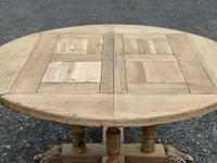 Large Round French Bleached Oak Farmhouse Table with Extensions (20 of 38)