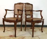 Vintage French Set of 6 Cherrywood Bergère Cane Dining Chairs with Carvers (3 of 14)