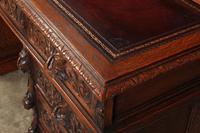 Carved Oak Pedestal Desk (6 of 19)