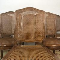 Vintage French Set of 6 Bergère Cane Dining Chairs Louis Style (4 of 8)