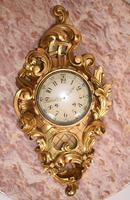 Scandanavian Wall Clock Antique Carved Rococo Giltwood Clocks (8 of 10)