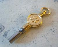Antique Pocket Watch Chain Fob 1890s Victorian Brass & Steel Swivel Key Size 10 (3 of 9)