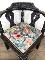 Victorian Carved Oak Corner Chair with Floral Upholstery (8 of 9)