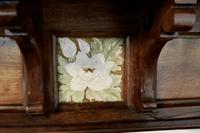 Large Decorative Victorian Walnut Tiled Fireplace (7 of 7)