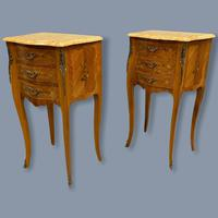 Pair of Marquetry & Marble Top Side Tables (3 of 8)