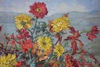 Large Mid Century Oil Painting Still Life of Chrysanthemums (6 of 10)