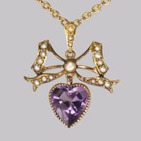 Antique Seed Pearl & Amethyst Pendant 15ct Gold Victorian / Edwardian Necklace (7 of 10)