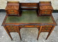 Maple & Co - Stunning Edwardian Marquetry Rosewood Library Writing Table Desk (4 of 15)