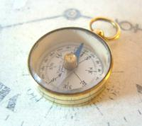 Vintage French Pocket Watch Chain Compass Fob 1940s Chunky Brass Drum Case Fwo (2 of 10)