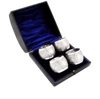 Set of 4 Antique Victorian Sterling Silver Napkin Rings in Case 1898 (8 of 11)