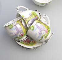 Art Deco Swan Lake Porcelain Roslyn Peacehaven Coffee Set c.1930 (3 of 10)