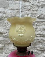 Tall 19thc Art-nouveau Primrose Yellow & Pink Twin Burning Duplex Table Oil Lamp (4 of 12)