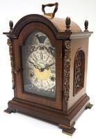 Fine Dutch Walnut Mantel Clock 8 Day Miniature Bracket Clock with Moon Roller (4 of 9)