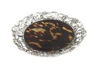 Antique Victorian Sterling Silver & Tortoiseshell Tray / Dish 1888 (4 of 9)