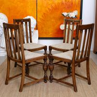 Oak Gateleg Dining Table & 4 Chairs Arts Crafts (4 of 17)