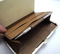 Quality Victorian 1894 Solid Sterling Silver & Leather Aide Memoire Card Note Stamp Case Purse Wallet. English Hallmarked (11 of 12)