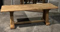 French Bleached Oak Trestle Farmhouse Dining Table (7 of 18)