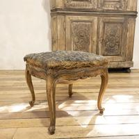Elegant Small French Louis XV Walnut and Upholstered Foot Stool (2 of 7)