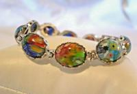 "Vintage Silver & Milliflori Glass Bracelet 1970s Length 7 3/4"" Heavy 23.7 Grams (4 of 12)"