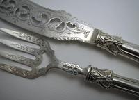 Ornate Antique Victorian Solid Sterling Silver Fish Servers, Serving Knife+Fork, English Hallmarked (10 of 11)