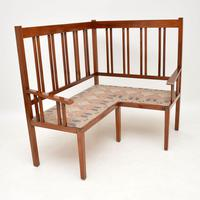 Antique Arts & Crafts Solid Walnut Corner Settee from Liberty of London (5 of 11)