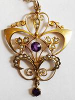 Victorian Art Nouveau 9ct Gold Pendant (3 of 9)