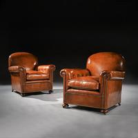 Antique Pair of Edwardian Leather Upholstered Club Chairs