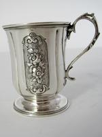 Victorian Silver Childs Christening Mug with a Cast Floral Handle