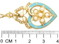 Seed Pearl, Enamel & 18ct Yellow Gold Pendant - Antique c.1890 (6 of 9)