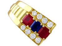 1.38ct Ruby & 0.65ct Sapphire, 0.64ct Diamond & 18ct Yellow Gold Earrings - Vintage c.1990 (3 of 9)