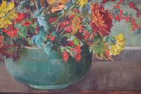 Large Mid Century Oil Painting Still Life of Chrysanthemums (7 of 10)