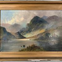 Antique large Scottish landscape oil painting of cottage by loch signed Montgomery Ansell (5 of 10)