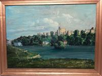"Fine 20th Century Oil Painting Royal Windsor Castle ""View From The Thames"" (6 of 12)"
