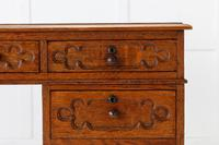 19th Century English Regency Gothic Oak Partners Desk (3 of 7)