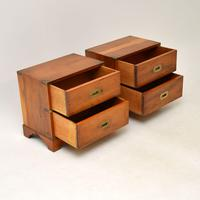 Pair of Antique Military Campaign Yew Wood Bedside Chests (9 of 9)