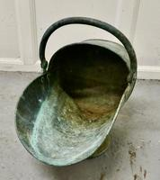Large Arts and Crafts Shabby (verdigris) Copper Helmet Coal Scuttle (3 of 4)