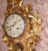 Scandanavian Wall Clock Antique Carved Rococo Giltwood Clocks (6 of 10)