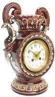 Amazing French 8 Day Majolica Mantle Clock Set Rare Pottery Mantle Clock Set (6 of 11)